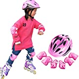 YAKOK Kids Helmet Set, 7pcs Kids Helmet Safety with Protective Gear Set for Bike Scooter Skateboard Skate for Child Boys and Girls, 4-12 Years Old (Pink)