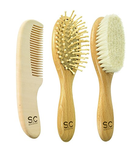 Natural Baby Hair Brush Set of 3 to Prevent Cradle Cap for Newborns and Toddlers. Hair Brushes for Babies: Goat Hair Brush and Wooden Massage Combs. Ogranic Infant Care Gift by Stone&Clark by Stone and Clark