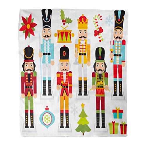 (Golee Throw Blanket Cracker Christmas Nutcrackers Nut Boy Clipart Crown Drum Drummer Flower 60x80 Inches Warm Fuzzy Soft Blanket for Bed Sofa)