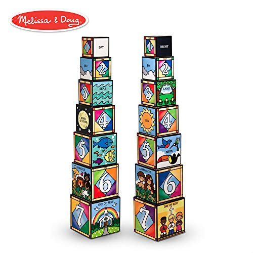 Melissa & Doug Days of Creation Stacking and Nesting Blocks With Convenient Rope-Handled Storage Box - 7 Blocks Stack to Almost 2.5 Feet Tall]()