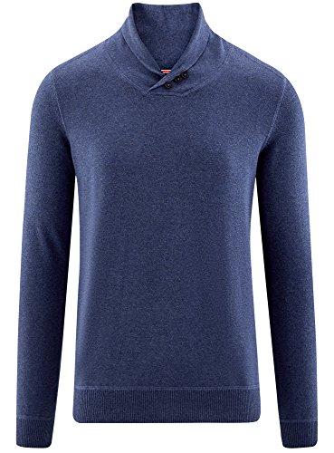 Maglione Blu Con Sciallato 7400m Uomo Dritto Oodji Collo Ultra wZEUEq0