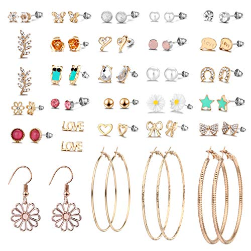 29 Pairs Assorted Multiple Stud Earrings set for Women Girls Simple Hoop earring set Girl's jewelry 在 Amazon.com 上查看 (E0848-3)