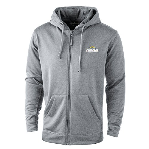 NFL San Diego Chargers Trophy Tech Fleece Full Zip Hoodie, Large, Grey