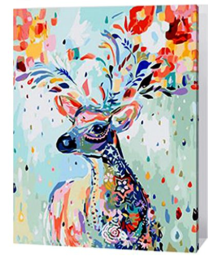 MailingArt Wooden Framed Paint By Number Animal No Mixing / No Blending Linen Canvas DIY Painting - Color Deer