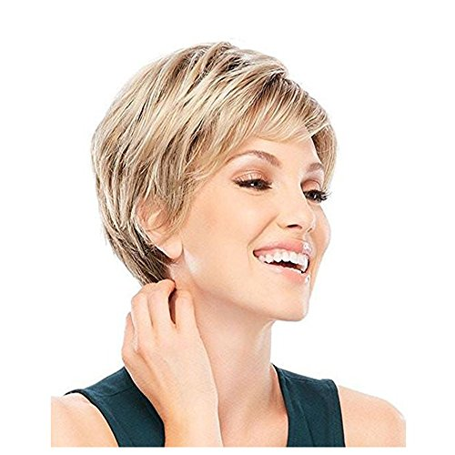 LEJIMEI Short Wigs with Bangs - Blonde Mixed Brown Synthetic Hair Wig for White Women Natural Looking Bob Wigs Fashion Full Wig + Wig (Really Cheap Wigs)