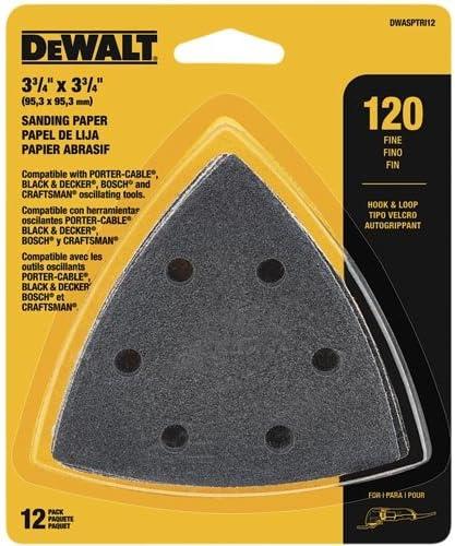 DEWALT DWASPTRI12 Hook and Loop Triangle 120 Grit Sandpaper 12-Pack