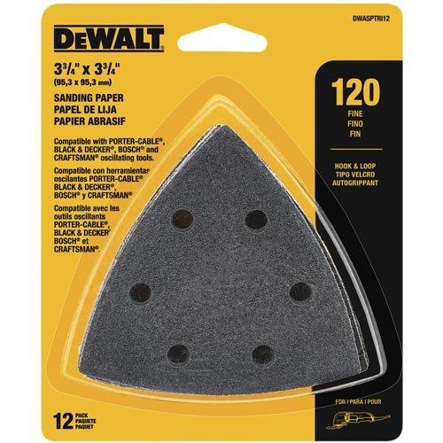 DEWALT DWASPTRI12 Hook and Loop Triangle 120 Grit Sandpaper, 12-Pack by DEWALT