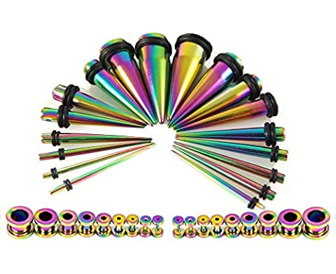 Taper Kit 36 Pieces Rainbow Stainless Steel with Screw Fit Plugs 18 Pairs 14G-00G Taper (Acciaio Di Stretching Taper Plug)
