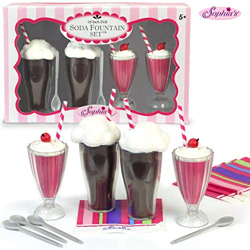 Sophia's 18 Inch Doll Play Set of 12 Pc. Soda Fountain Accessory Set, 2 Root Beer Ice Cream Floats, 2 Strawberry Smoothies, 4 Spoons & 4 Napkins Perfect for American Girl Doll Food & More Doll Items from Sophia's