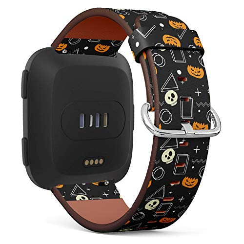 Replacement Leather Strap Printing Wristbands Compatible with Fitbit Versa - Halloween Ghost Pumpkin and Geometric Pattern
