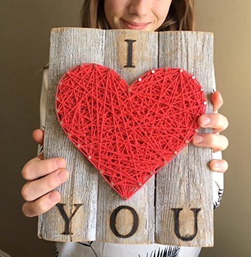 I love you string art heart sign, plaque . A unique gift for Weddings, 5 year Anniversaries, Birthdays and just because. Made on rustic reclaimed - Gifts You For Just
