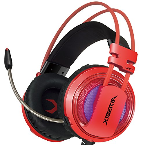 XIBERIA PC Gaming Headset USB Surround Stereo Wired Over Ear Headphones with Microphone Revolution Volume Control Noise Canceling LED Light for PC/Laptop (Red/Grey/Gold)