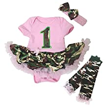 Baby Dress Camo 1st Pink Dress Pink Bodysuit Camouflage Tutu Leg Warmer Nb-18m