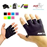 RUNTOP Workout Gloves Weight Lifting Grips with Silicon Padding Exercise Gloves Perfect for Women Men Crossfit Training WODS Weightlifting Bodybuilding Powerlifting Gym Fitness (Space Black