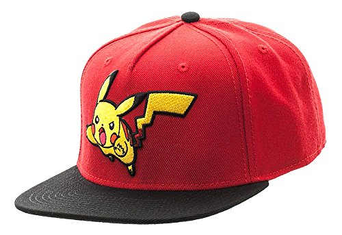 Bioworld Pokemon Pikachu Color Block Snapback Hat Red]()