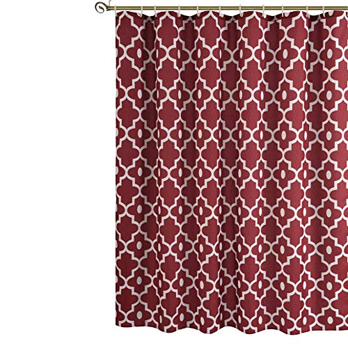 Biscaynebay Textured Printed Shower Curtain, Morocco Pearl Luxurious Textured Fabric Bathroom Curtain Red Burgundy ()