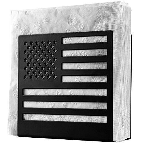 - Metal Cut-out USA Flag Design Tabletop Paper Napkin Holder, Freestanding Tissue Dispenser, Black