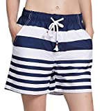 ChinFun Women's Quick Dry Board Shorts Stripe Swim Trunks Swimsuit Long Beach Shorts Side Pockets Navy XL