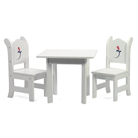 Exceptionnel 18u0026quot; Inch Doll Table And Chairs Set | White Furniture With Painted Rose  | Square