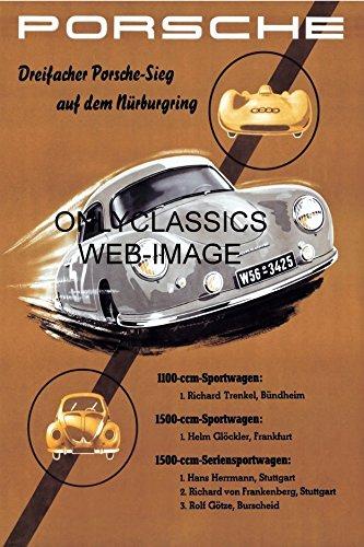 Porsche 356 Racing - OnlyClassics 1955 Porsche 356 Speedster Sports CAR Poster Audi AUTO Racing Vintage VW Bug