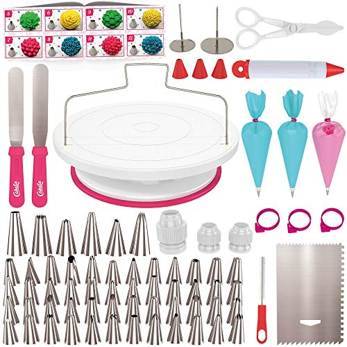 Cake Decorating Kit Cake Turntable - Cakebe 82pcs Cake Decorating Supplies Cake Baking Kit - Cake Baking Supplies For Teens Cake Decorating Set With Cake Decorating Turntable - Cake Decorating Tools ()