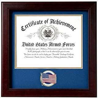 product image for US American Flag Certificate of Achievement Picture Frame with Medallion - 8 x 10 Inch Opening