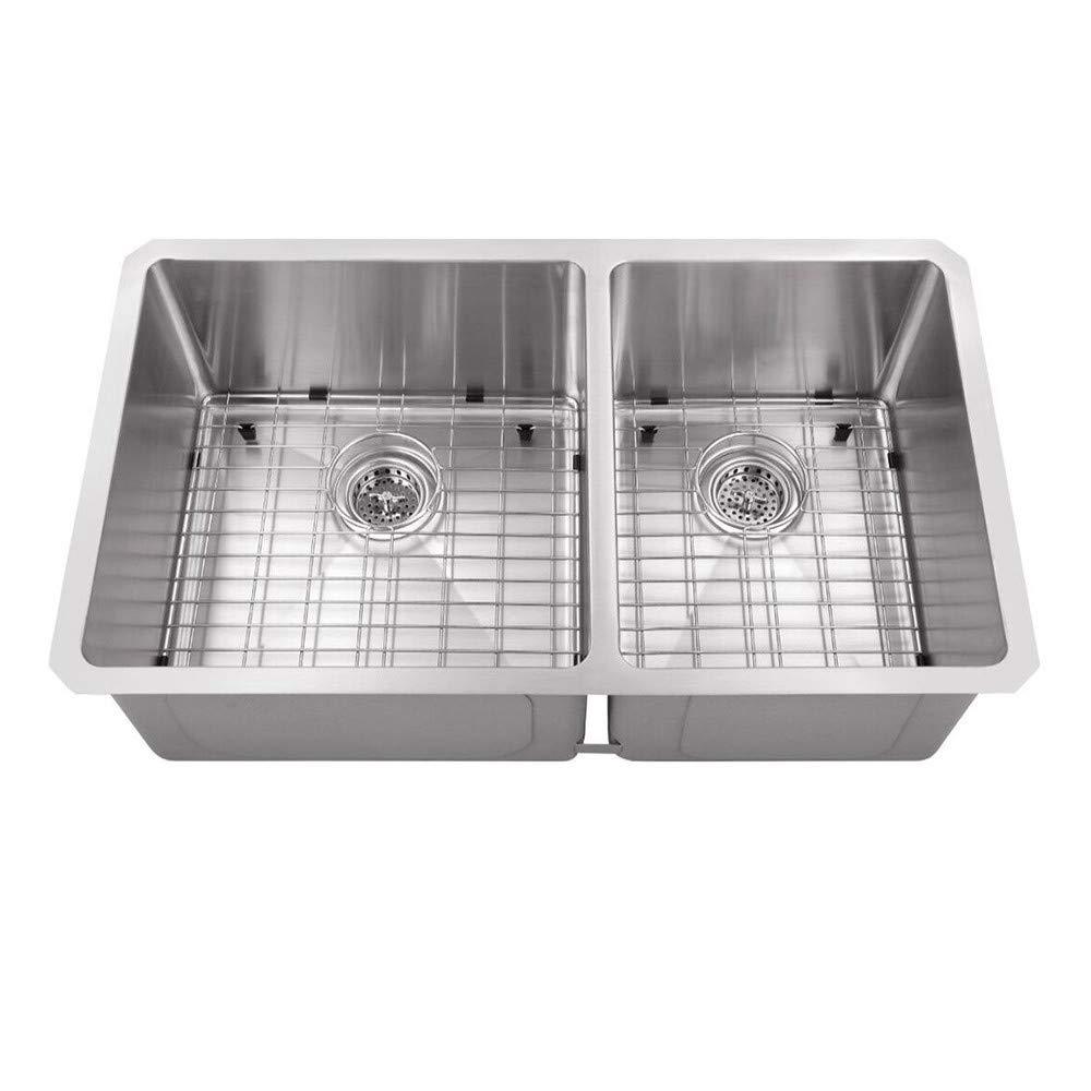 Cahaba CA221232 32 x 19 16 Gauge Stainless Steel 60/40 Kitchen Sink on cast iron undermount double sink, 24 x 16 sink, 70 30 undermount stainless steel sink, hammered copper farmhouse sink, copper bowl sink, 24 bathroom vanity with sink,