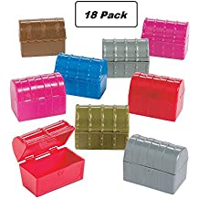 Mini Plastic Treasure Chests - Pack Of 18 - 1.5 Inches Each, Assorted Colors – Pirate Themed Party Treasures Chests - For Kids, Great For Candies, Party Favors, Fun, Gift, Decoration - By Kidsco