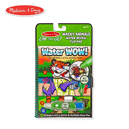 Melissa & Doug On the Go Water Wow! Wacky Animals Flip Pad (Reusable Water-Reveal Coloring Book, Refillable Water Pen)