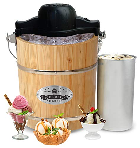 - Elite Gourmet EIM-502 4 quart Old-Fashioned Ice Cream Maker with electric motor and hand crank, maple
