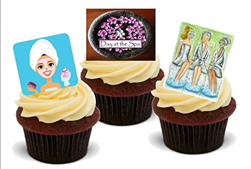 LUXURY DAY AT THE SPA MIX - Fun Novelty PREMIUM STAND UP Edible Wafer Paper Cake Toppers Decoration]()