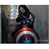 Captain America Sebastian Stan as Bucky Barnes Winter Soldier Aiming Behind Cap 8 x 10 Inch Photo