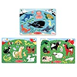 Melissa & Doug Peg Puzzles Set, Farm Animals, Pets, Ocean (Developmental Toy, Easy to Grasp, 3 Peg Puzzles, Animal Illustrations, 6 Pieces in Each)