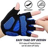 MOREOK Mens Cycling Gloves,Half Finger Biking Glove MTB DH Road Bicycle Gloves Gel Pad Shock-Absorbing Anti-Slip Breathable Motorcycle Mountain Bike Gloves Unisex Women AK050-Blue-M