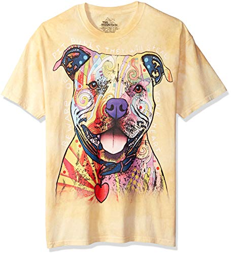 The Mountain Beware Of Pit Bulls Adult T-Shirt, Yellow, Medium (Pit Adult T-shirt)