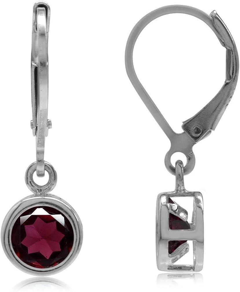 sterling silver lever back eurowire earrings leverback gemstone earrings Convex Rose Quartz Dangles