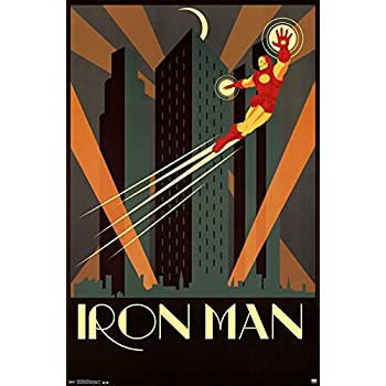 Trends intl iron man art deco poster 22 x 34
