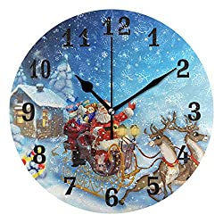AUUXVA SEULIFE Wall Clock Christmas Deer Santa Winter, Silent Non Ticking Clock for Kitchen Living Room Bedroom Home Artwork Gift