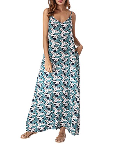Green Long StyleDome Maxi Neck Printed 697029 Dresses Dress V Women Strappy Sleeveless Loose znwBqxPHCz