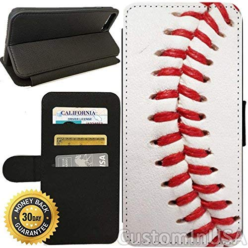 Flip Wallet Case for iPhone 8 Plus (Baseball Design) with Adjustable Stand and 3 Card Holders | Shock Protection | Lightweight | Includes Free Stylus Pen by Innosub