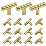 2 1 2 inch brass drawer pulls - Probrico Brushed Brass Modern Bathroom Drawer Handle Kitchen Cupboard T Bar Knobs Dresser Gold Bar Pulls Set - 2 Inch Length - 15 Pack