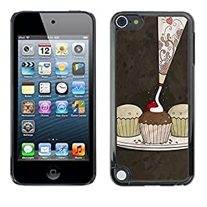 Soft Silicone Rubber Case Hard Cover Protective Accessory Compatible with Apple IPod Touch 5 - Cute Cupcakes Pattern