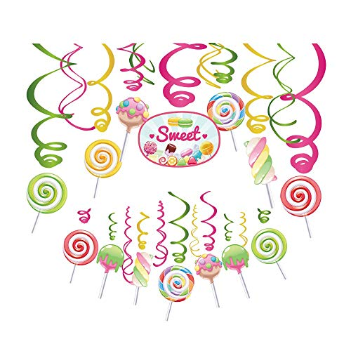 Candy Land Party (Kristin Paradise 30Ct Candy Land Hanging Swirl Decorations, Candyland Party Supplies, Lollipop Birthday Theme, Candy Shop Kids Paper Decor for First 1st Boy Girl Baby Shower, Sweet Shop)