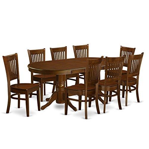 East West Furniture VANC9-ESP-W 9-Piece Dining Table Set