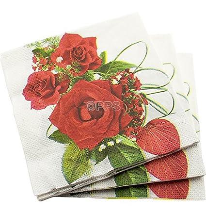Juego de 200 servilletas de papel de 3 capas, con diseño de rosas, de