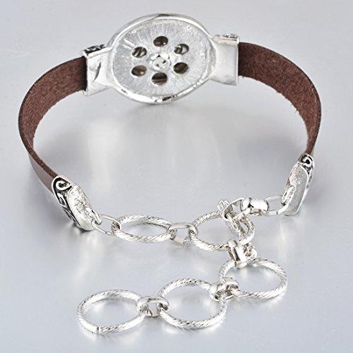 Souarts Cafe Pu cuir Bracelet pour Bouton a Pression de 5.5mm 29cm 1PC