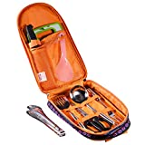 Camp Kitchen Utensil Organizer Travel Set - Portable 8 Piece BBQ Camping Cookware Utensils Travel Kit with Water Resistant Case|Cutting Board|Rice Paddle|Tongs|Scissors|Specifications: Size of the bag:14.5*8.7*2.2 inch  Weight: 2.2lbs  Cuttin...