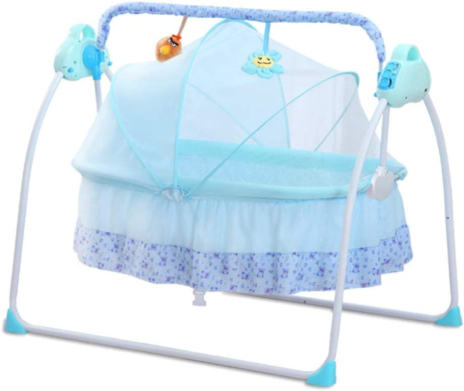 Pink RUNQIAN Electric Baby Cradle Remote Control Music Folding Cradle Bed With Mosquito Net