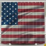 BINGO FLAG Funny Fabric Shower Curtain American Flag Waterproof Bathroom Decor With Hooks 60 X 72 Inch