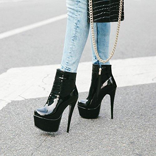 YE Damen Ankle Boots Stiletto Stiefeletten Lackleder High Heels Plateau mit Reißverschluss 16cm Absatz Elegant Schuhe Schwarz